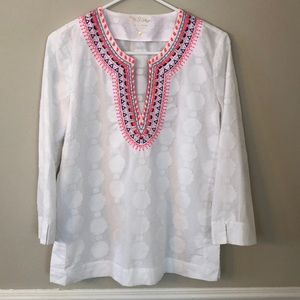 Lilly Pulitzer 3/4 Tunic Top white w/ Embroidery